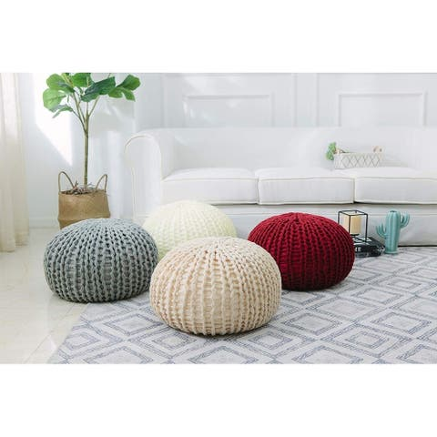 "Cheer Collection 18"" Round Chunky Hand-Knit Decorative and Comfortable Foot Stool and Ottoman"