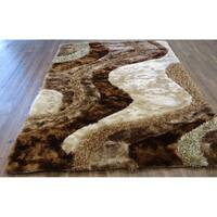 5x7 Contemporary Area Rug Brown - 5' x 7'