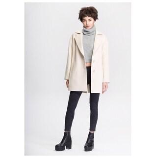 Women's Beige Wool Blend Cocoon Coat