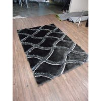 Black Gray 5x7 Contemporary Area Rug - 5' x 7'