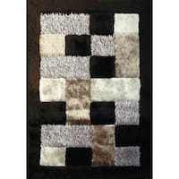 Abstract Black 5x7 Contemporary Area Rug - 5' x 7'