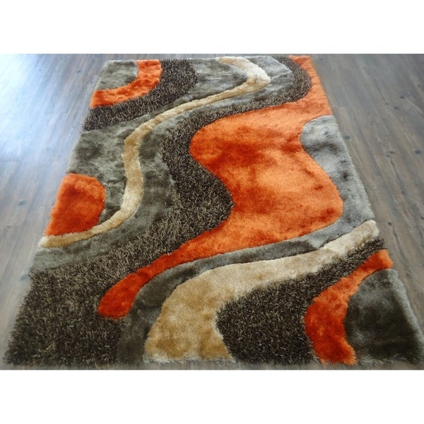 5x7 Contemporary Area Rug Orange - 5' x 7'