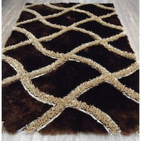 Brown Beige 5x7 Contemporary Area Rug - 5' x 7'