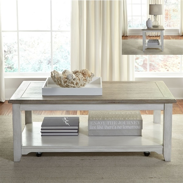 Summerville Soft Whitewash Wood 3-piece Coffee and End Table Set