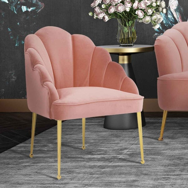 Silver Orchid Zelenka Petite Blush Velvet Chair