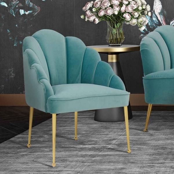 Silver Orchid Zelenka Sea Blue Velvet Chair. Opens flyout.