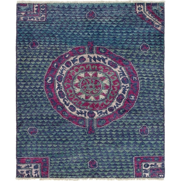 eCarpetGallery Hand-knotted Shalimar Navy Blue Wool Rug - 5'8 x 6'7