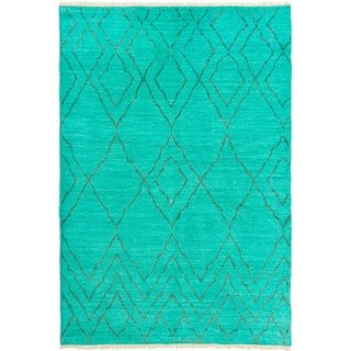 eCarpetGallery  Hand-knotted Vibrance Teal Wool Rug - 6'2 x 9'0