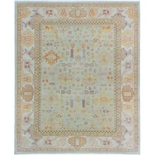 eCarpetGallery  Hand-knotted Authentic Ushak Khaki Wool Rug - 8'1 x 9'8