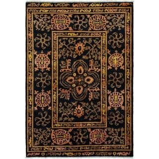eCarpetGallery  Hand-knotted Shalimar Dark Navy Wool Rug - 6'1 x 9'0
