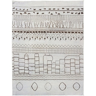 eCarpetGallery  Hand-knotted Tangier Light Grey Wool Rug - 8'0 x 10'7