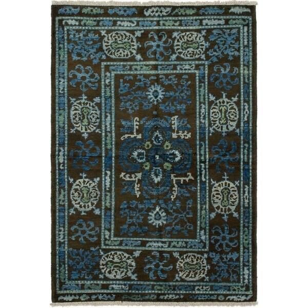 eCarpetGallery Hand-knotted Shalimar Dark Brown Wool Rug - 5'2 x 7'9