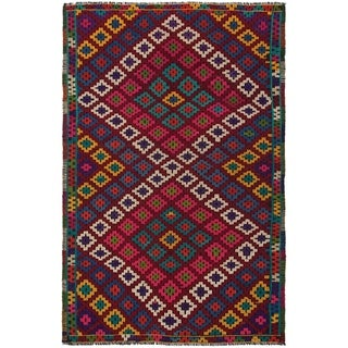 eCarpetGallery  Flat-weave Yoruk Dark Red Wool Sumak - 6'1 x 9'6
