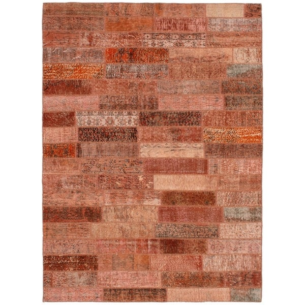 eCarpetGallery Hand-knotted Color Transition Patch Copper Wool Rug - 5'8 x 7'9