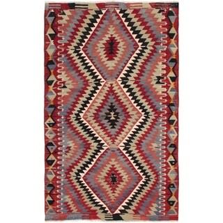 eCarpetGallery  Flat-weave Kashkoli FW Dark Red Wool Kilim - 4'10 x 8'7