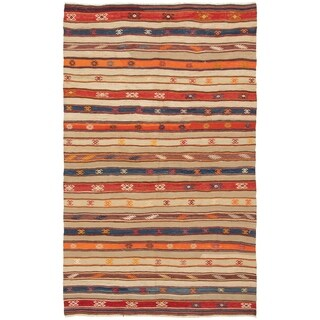 eCarpetGallery Flat-weave Bohemian Khaki Wool Kilim - 5'3 x 8'9