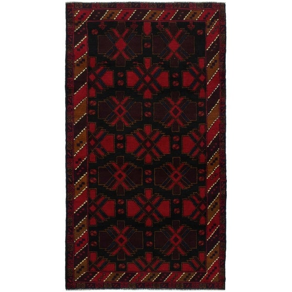 eCarpetGallery Hand-knotted Teimani Black, Red Wool Rug - 3'6 x 6'5