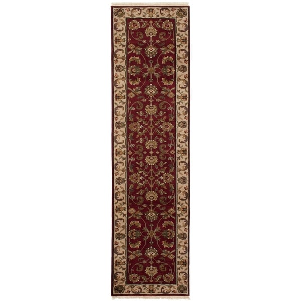 eCarpetGallery Hand-knotted Sultanabad Dark Red Wool Rug - 2'6 x 10'1