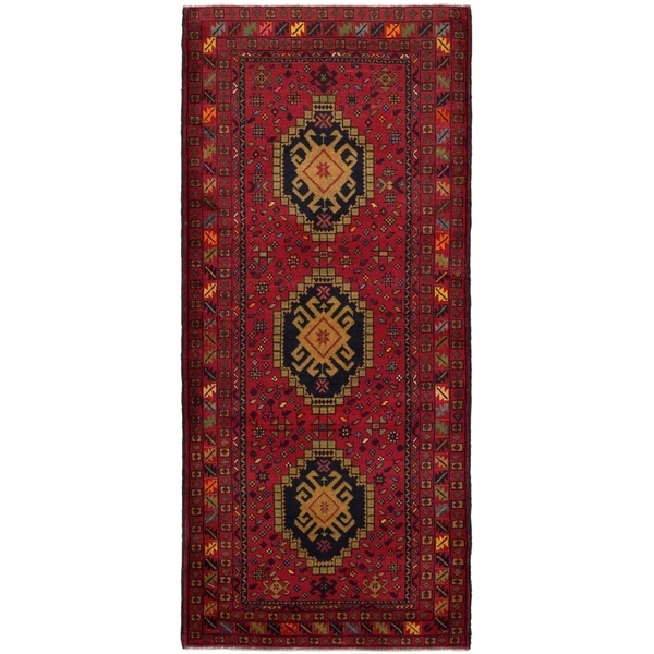 eCarpetGallery Hand-knotted Rizbaft Red Wool Rug - 3'0 x 6'9