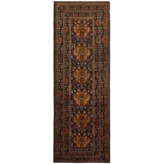 eCarpetGallery  Hand-knotted Rizbaft Navy Blue Wool Rug - 3'2 x 9'2