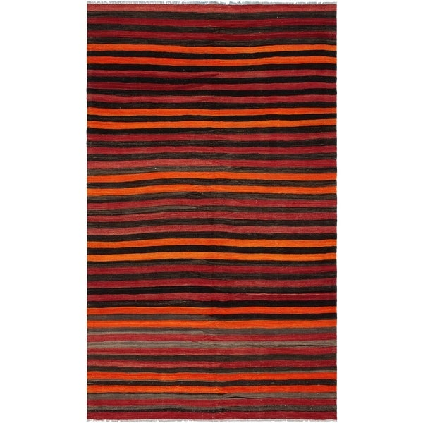 eCarpetGallery Flat-weave Bohemian Dark Red Wool Kilim - 6'0 x 10'2