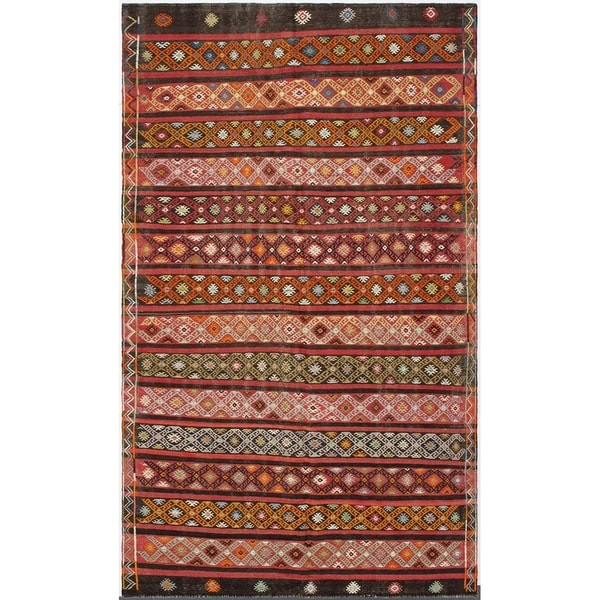 Flat-weave Kashkoli Red Wool Kilim - 6'3 x 10'5. Opens flyout.