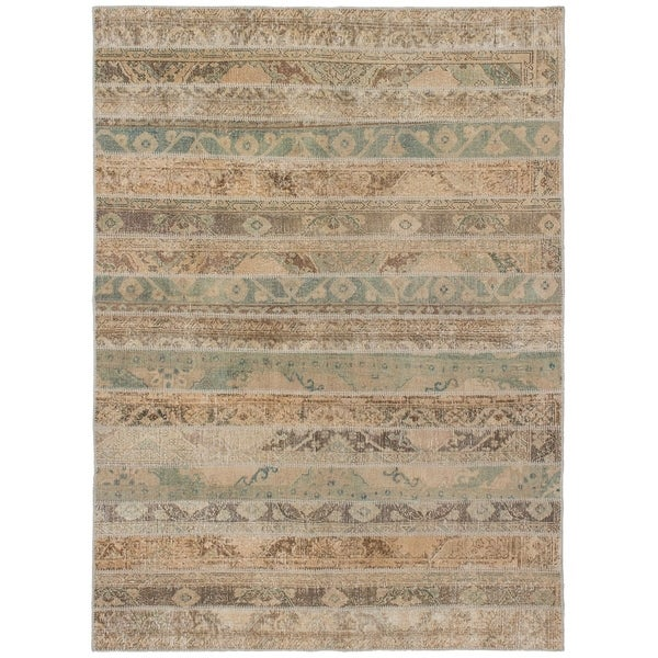 eCarpetGallery Hand-knotted Vintage Anatolia Patch Grey, Tan Wool Rug - 5'8 x 7'9