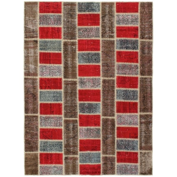 eCarpetGallery Hand-knotted Color Transition Patch Brown Wool Rug - 5'7 x 7'6