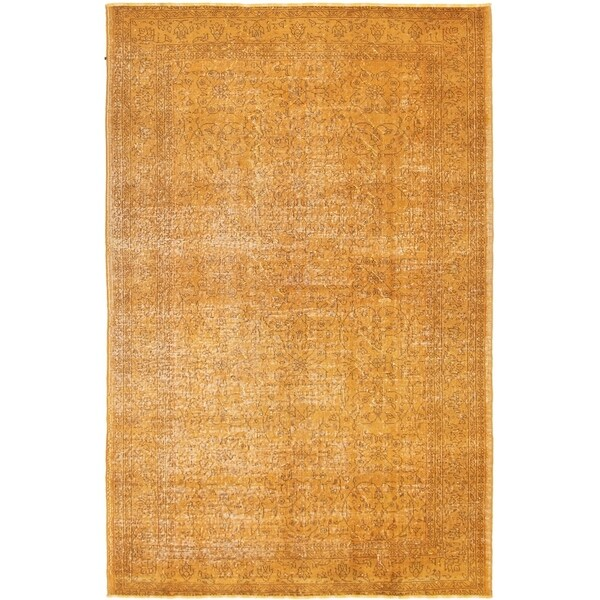 eCarpetGallery Hand-knotted Color Transition Dark Gold Wool Rug - 5'3 x 8'3