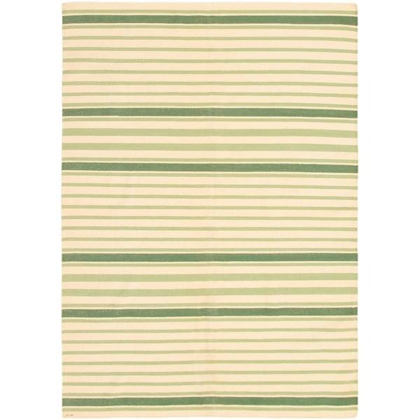 eCarpetGallery Flat-weave Tribal Gabbeh Cream Wool Kilim - 6'1 x 8'9