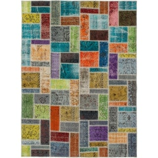 eCarpetGallery  Hand-knotted Color Transition Patch Grey Wool Rug - 5'9 x 7'11