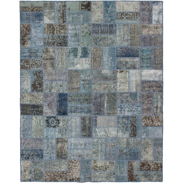 eCarpetGallery Hand-knotted Color Transition Patch Light Blue Wool Rug - 5'9 x 7'4