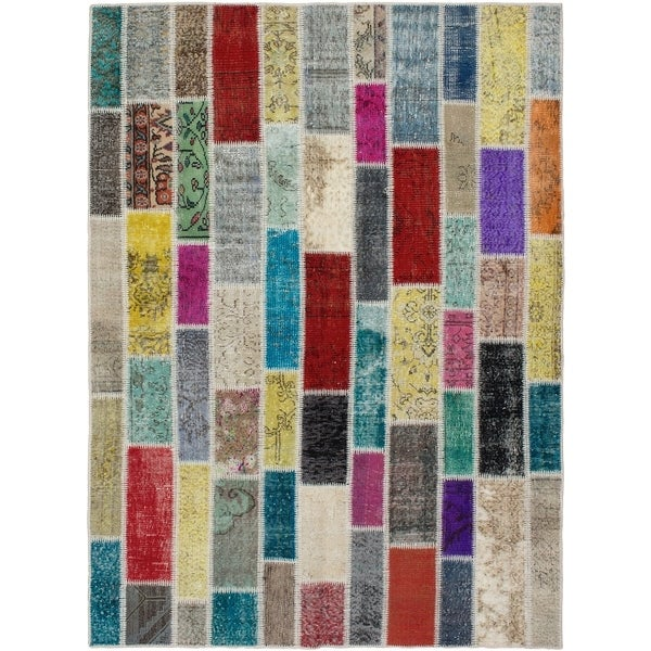 eCarpetGallery Hand-knotted Color Transition Patch Grey, Turquoise Wool Rug - 5'8 x 7'9