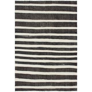eCarpetGallery  Flat-weave Bohemian Cream, Dark Brown Wool Kilim - 7'0 x 10'3
