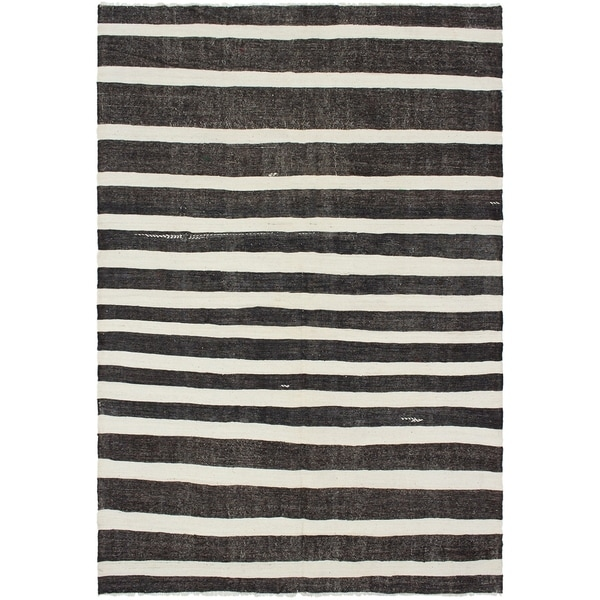 eCarpetGallery Flat-weave Bohemian Cream, Dark Brown Wool Kilim - 7'0 x 10'3