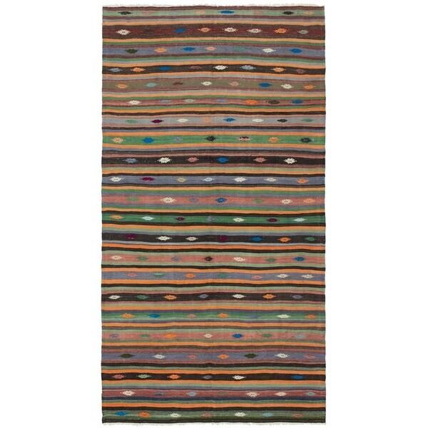 eCarpetGallery Flat-weave Bohemian Dark Copper Wool Kilim - 5'4 x 10'10