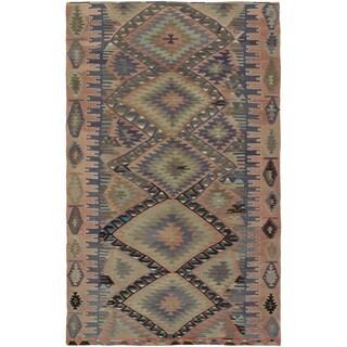 eCarpetGallery Flat-weave Sivas Khaki, Salmon Wool Kilim - 6'4 x 10'2