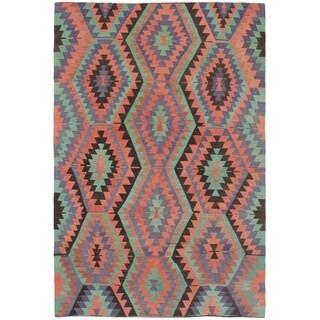 eCarpetGallery  Flat-weave Sivas Light Green, Salmon Wool Kilim - 5'7 x 9'0