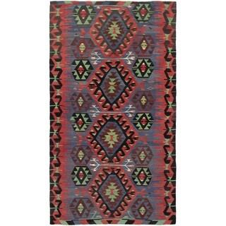 eCarpetGallery  Flat-weave Sivas Dark Copper, Dark Navy Wool Kilim - 5'1 x 9'3