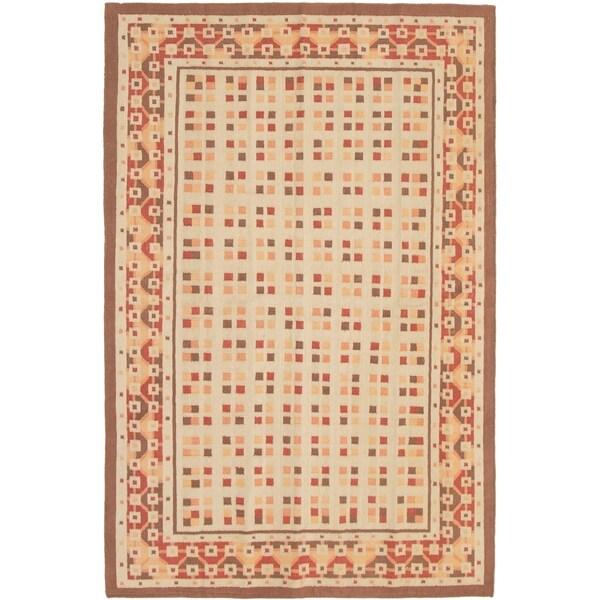 eCarpetGallery Flat-weave Ankara FW Brown, Cream Wool Kilim - 5'10 x 9'0