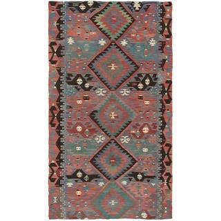 eCarpetGallery  Flat-weave Sivas Dark Copper Wool Kilim - 5'1 x 9'6