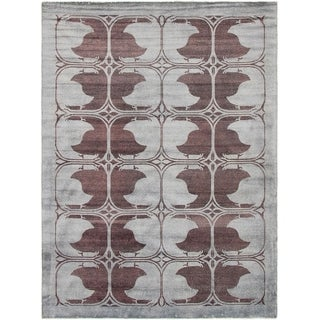 eCarpetGallery  Hand-knotted Color Transition Light Grey Wool Rug - 6'4 x 8'6