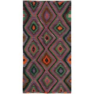 eCarpetGallery  Flat-weave Sivas Green, Slate Blue Wool Kilim - 5'3 x 10'8