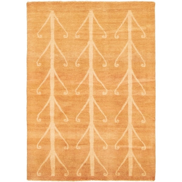 eCarpetGallery Hand-knotted Color Transition Light Brown Wool Rug - 4'1 x 5'10