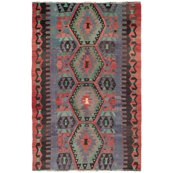 eCarpetGallery Flat-weave Sivas Dark Copper Wool Kilim - 5'11 x 9'5