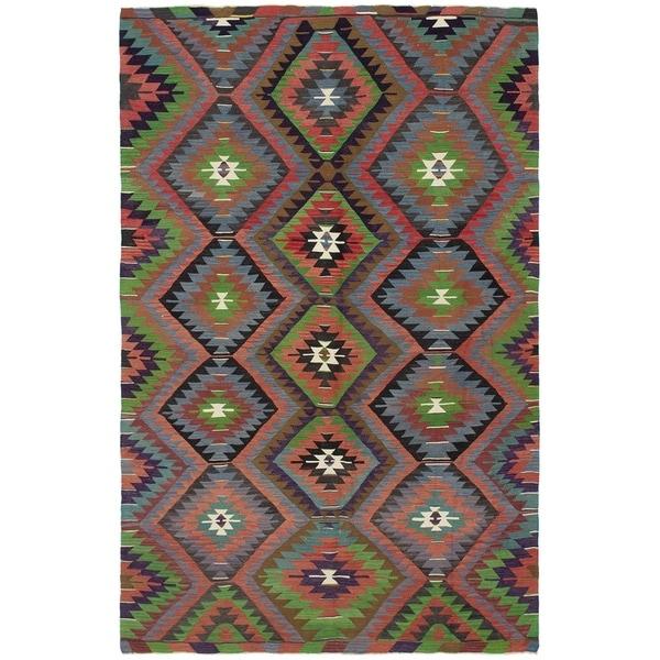 eCarpetGallery Flat-weave Sivas Dark Copper, Green Wool Kilim - 5'6 x 8'11