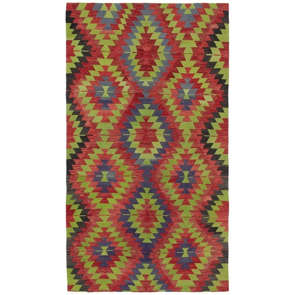 eCarpetGallery Flat-weave Sivas Green, Red Wool Kilim - 5'7 x 10'7