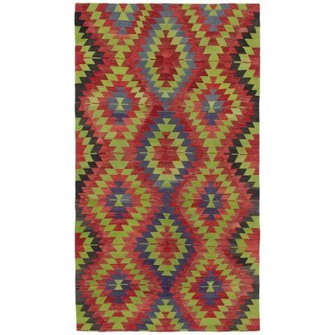 Flat-weave Sivas Green, Red Wool Kilim - 5'7 x 10'7