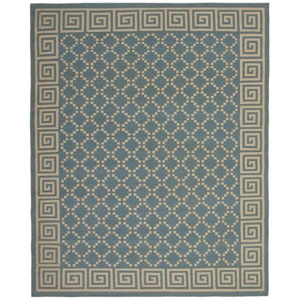 eCarpetGallery Flat-weave Ankara FW Light Denim Blue Wool Kilim - 9'4 x 11'9