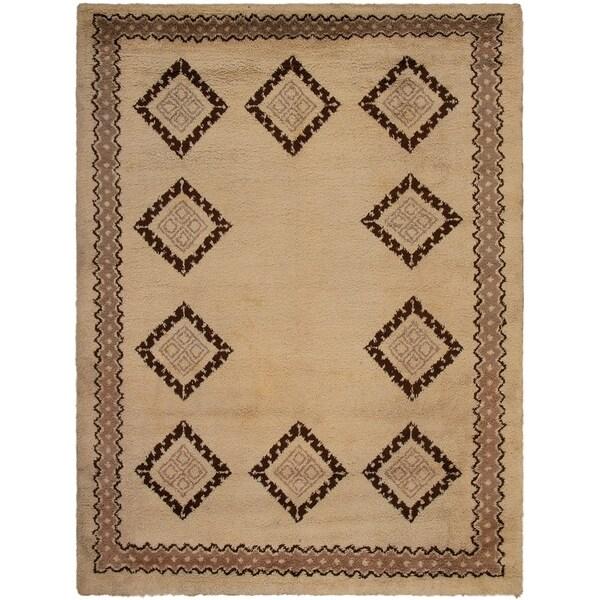 eCarpetGallery Hand-knotted Royal Maroc Cream Wool Rug - 8'4 x 11'0